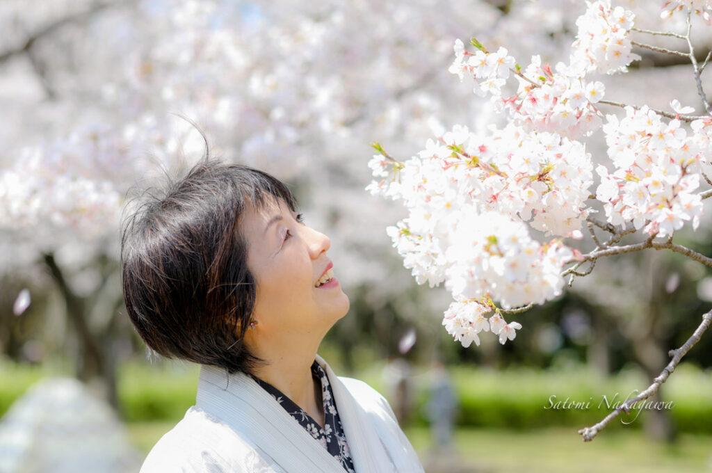 桜の木と着物姿の女性