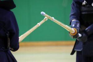 試合中の剣道の竹刀